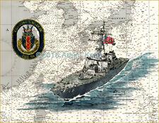 USS John S McCain DDG56 Giclee Print of Painting on Nautical Chart by Adam Koltz