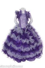 New Girl Glitz Pageant Party Wedding Ruffled Dress Bolero Purple/Silver sz 2-12