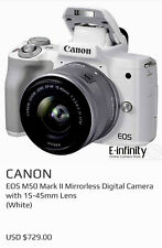 Canon EOS M50 24.1 MP Mirrorless Camera - White, 15-45mm PLUS Tripod