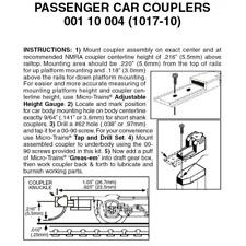 Micro-Trains 00110004 - Passenger Car Couplers Assembled - 10 pair