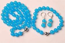 10MM Blue Topaz Chalcedony Round Beads Necklace & Bracelet & Earrng Set