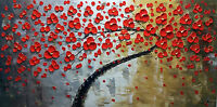 100%hand-painted knife Art Oil painting Flowers 16x32inch canvas signed GARDENS