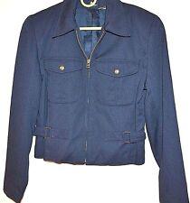 Vintage Retro 80's Liz Claiborne Navy Blue Gold Cropped Military Style Jacket 6