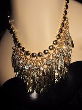 BETSEY JOHNSON ANGEL AND WINGS GOLD TONED FEATHER AND BLING STATEMENT NECKLACE