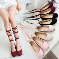 Women's Casual Cross Strap Ballet Dance Flat Low Heels Round Toe Soft Shoes