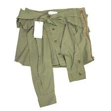 FAITH CONNEXION Womens Kaki Olive Green Zip Button Mini Shirt Skirt (MSRP $610)