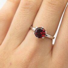925 Sterling Silver Real Red Garnet Gemstone Ring Size 5 3/4