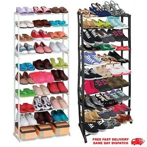 10 TIER SHOE RACK HOLDS 30 PAIRS Of SHOES STORAGE ORGANISER STAND SHELF TRAINERS