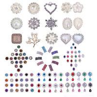 10pcs Crystal Rhinestone Pearl Flatback Button Embellishment Wedding Dress Decor