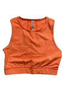 lululemon womens sporty crop top 6 orange mesh performance back