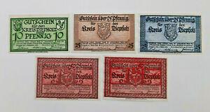 DIEPHOLZ NOTGELD 10, 2x 25, 2x 50 PFENNIG 1920 EMERGENCY MONEY GERMANY (13427)