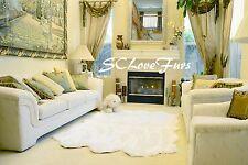 "48"" x 58"" Warm White Medium Sheepskin Pelts Sixto Area Rug Faux Fur Shaggy"