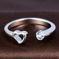 *UK Shop* 925 SILVER PLT HOLLOW HEART CLEAR CRYSTAL ADJUSTABLE RING TOE THUMB