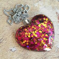 Unique BLAZE SHIMMER HEART NECKLACE resin GORGEOUS handmade PINK GOLD statement
