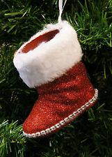 RED & WHITE GLITTERED BOOT SHATTERPROOF CHRISTMAS TREE ORNAMENT