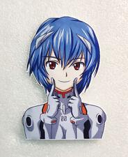 "Evangelion Rei Smiling Anime Decal Sticker, 5"" tall, on White Background Vinyl"