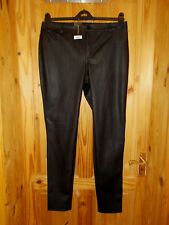 BNWT DOROTHY PERKINS black faux leather look skinny jeans trousers 14 42