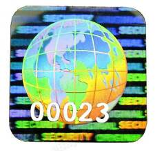 324x 15mm GLOBE Hologram Stickers NUMBERED, Square Labels, Warranty Original