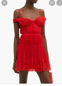 Self Portrait Mini Kleid Dress Rot Off Shoulder Size 10 36