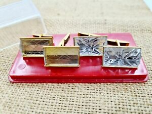 Soviet Vintage Souvenir Set of Cufflinks Crystal Glass USSR 1970-80s