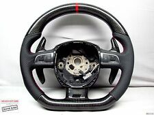 CARBON Steering WHEEL Audi S8 A8 Q7 RS6 S6 S5 RS5 S4 Red Ring Flat Bottom Thick