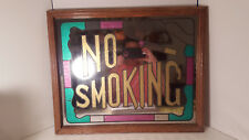 """Vintage """"NO SMOKING"""" Sign Mirror with Strained Glass Style On Wooden Frame"""