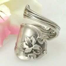 Sterling VIOLET Silver Spoon Ring Sz 8-12 Custom Silverware Jewelry,Whiting 1905