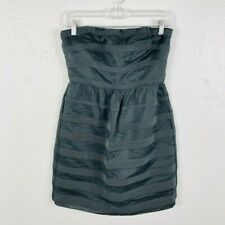9a48f5207ee J Crew Size 6 Strapless Dress Gray Dark Rugby Stripe Ginny Above Knee Party