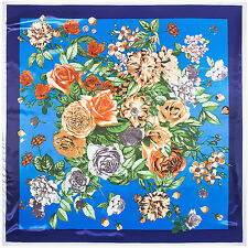 "Women's Blue Silk-Satin Square Scarf Euro Vintage Flower Print Head Shawl35""*35"""