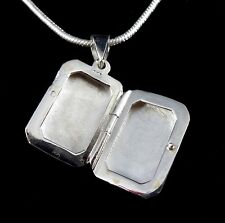 Handcrafted Solid 925 Sterling Silver Polished Rectangle Locket Pendant