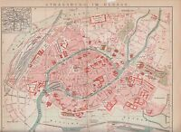 c. 1890 FRANCE ALSACE STRASBOURG CITY PLAN Antic Map