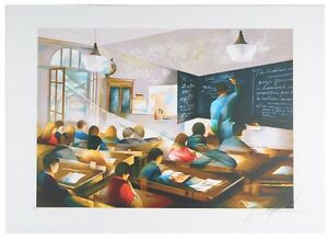 """""""Classroom"""" by Raymond Poulet Signed Lithograph Limted Edition of 250 w/ CoA"""