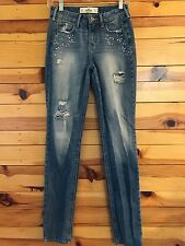 *HOLLISTER* Women's Destroyed Jeans with Rhinestone Detail Size 0R  W24 L31