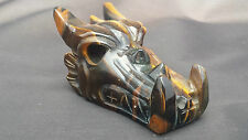 Natural Brazilian Tiger's Eye Hand Carved Dragon Crystal Skull 129g