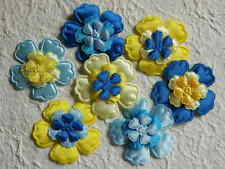 60 fabric FLOWERS Mixed sizes FFE9BY Blue Yellow Card & Scrapbook Embellishments
