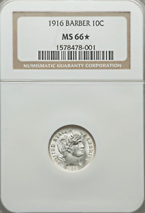 1916 NGC MS66✭ STAR Pop 2 ALL Grades 🔴 Gorgeous 💜 Frosty ✅✅ Barber Dime PQ 10C