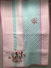 Disney Minnie Mouse Daisy Duck Quilt Blanket Best Friends Pink Flowers 30x42 HTF