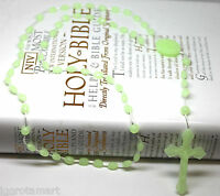 GREEN LUMINOUS GLOW IN THE DARK ROSARY BEADS NECKLACE JEWELRY