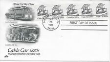US Scott #2263, First Day Cover 10/28/88 San Francisco Plate #1 Coil Cable Car