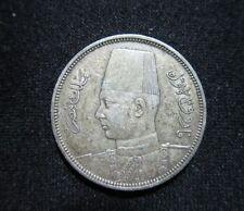EGYPT. SILVER 5 PIASTRES, 1939. KING FAROUK.
