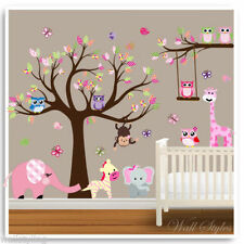 Animal Owl Wall Stickers Monkey Jungle Tree Baby Nursery Kids Room Decals Mural