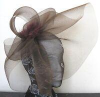 brown feather fascinator millinery burlesque headband wedding hat hair piece