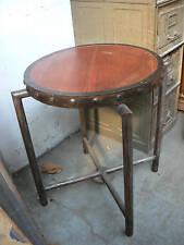 ancien gueridon table industriel fer acajou metier