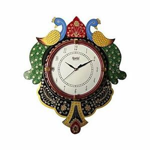 Wooden Wall Clock Couple Peacock Indian Traditional Round Wall Mount Home Decor