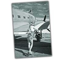 War Photo Avia Pin Up Girl Nice Woman Pilot WW2 4x6 R
