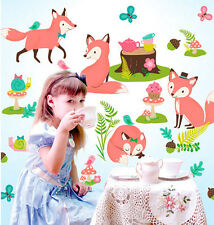 Wallies WOODLAND TEA PARTY wall stickers over 30 peel & stick decals FOX