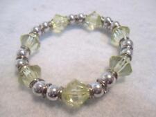 "Stretch Bangle Bracelet Silver Tone Metal Beads Pale Yellow Acrylic Beads 7 1/2"""