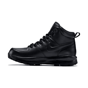 Nike Manoa Black Leather Work Boots Men's Casual Winterized Triple 454350-003