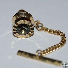 Wow Nice Vintage Circular Jeweled Green Tie Tack Clasp Rare