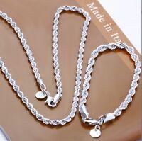 ASAMO Damen Herren Schmuckset Halskette Armband Sterling Silber plattiert SS1051